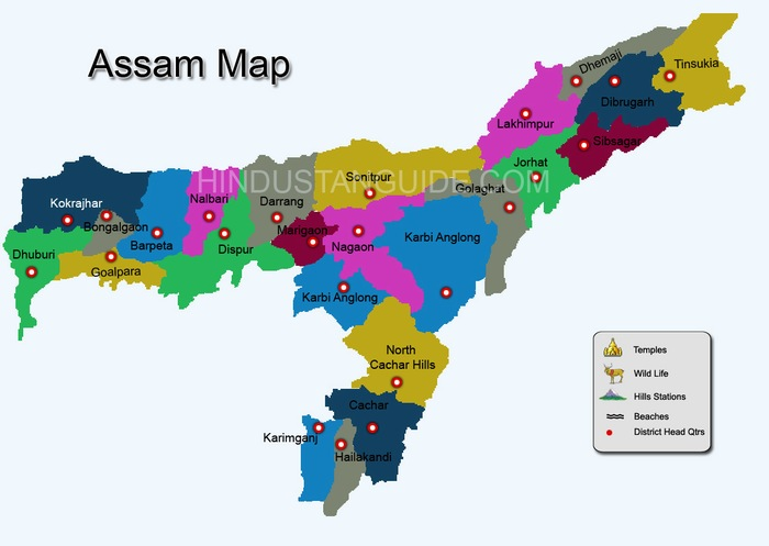 map of assam state Map Of Assam Districtwise Assam Map Pilgrimage Centres In Assam map of assam state