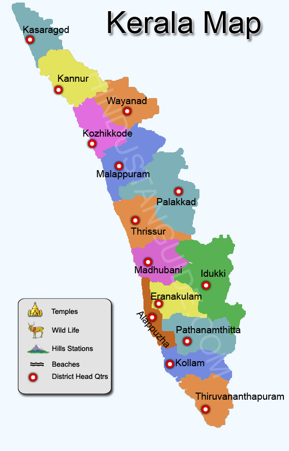Map of Kerala districtwise Kerala map pilgrimage centres in – Tourist Map of Kerala