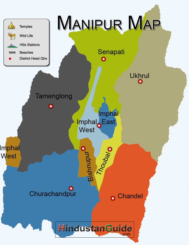 Map Of Manipur Districtwise Manipur Map Pilgrimage Centres In